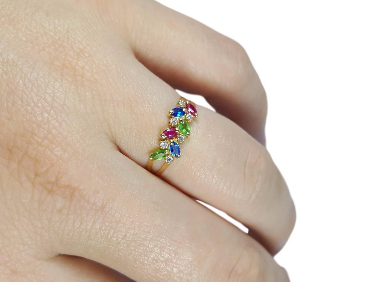 710d9c645ca0c anel de ouro 18k meia aliança rubi safira esmeralda natural. Carregando  zoom.