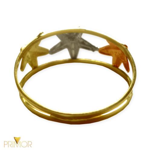 anel de ouro 3 estrelas de diferentes cores de ouro an024