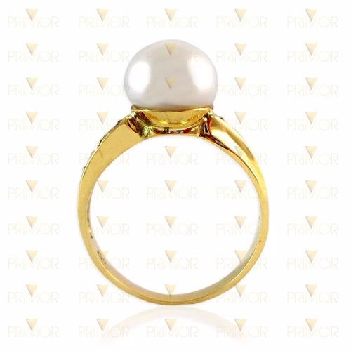 anel de ouro amarelo com pérola e 4 diamantes 2,5g an016