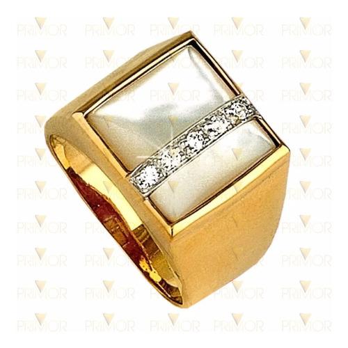 anel de ouro amarelo masculino madrepérola 5 diamantes an028