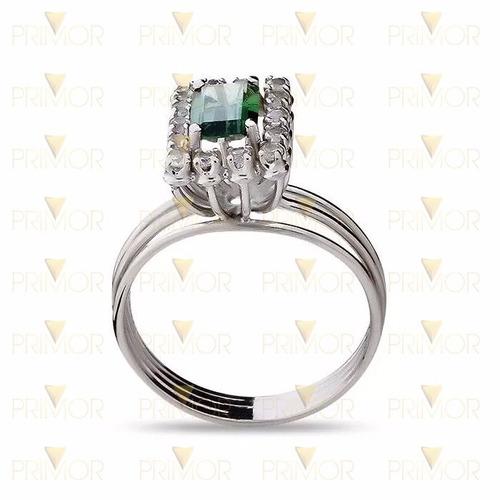 anel de ouro branco vazado com zircônias e 3 aros an010