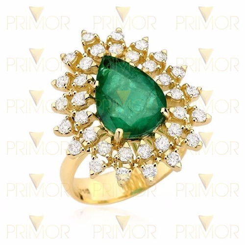 anel de ouro com esmeralda gota e 34 diamantes de 2pts an014