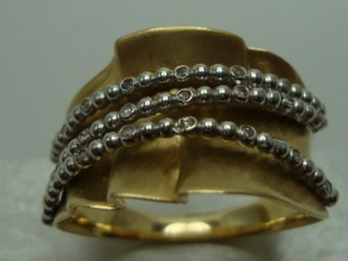 anel de ouro e ouro branco 18k com diamantes jr joalheiro.