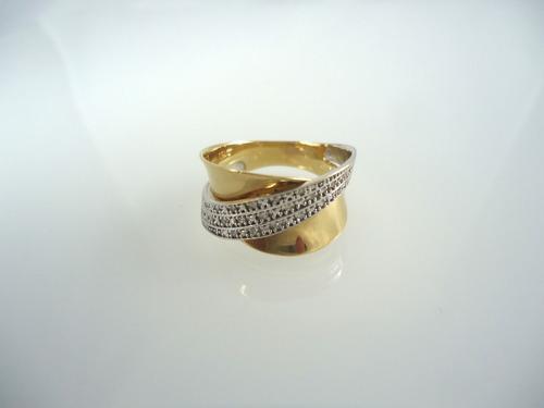 anel de ouro e ouro branco 18k com diamantes jr joalheiro