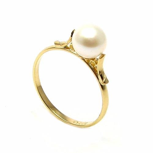 anel de pérola legítima ouro 18k 750