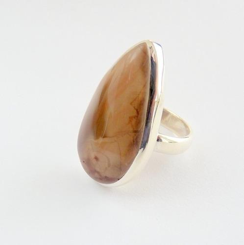 anel de prata 925 com garantia e jaspe imperial natural 8308
