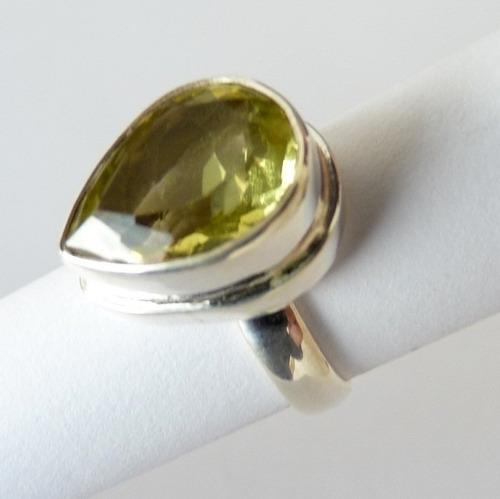 anel de prata 925 com garantia e topázio natural  7765