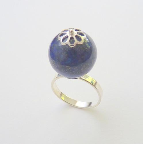 anel de prata 925 com garantia, lápis lazulli natural, 5019