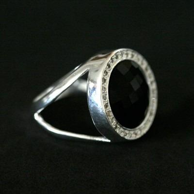 anel de prata 925 com pedra onix
