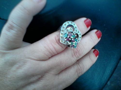 anel de prata 925 com pedras