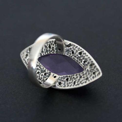 anel de prata 925 com pedras preciosa ametista e macassita
