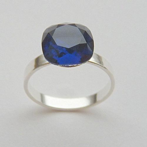 anel de prata 925 com safira cristal swarovski 7513