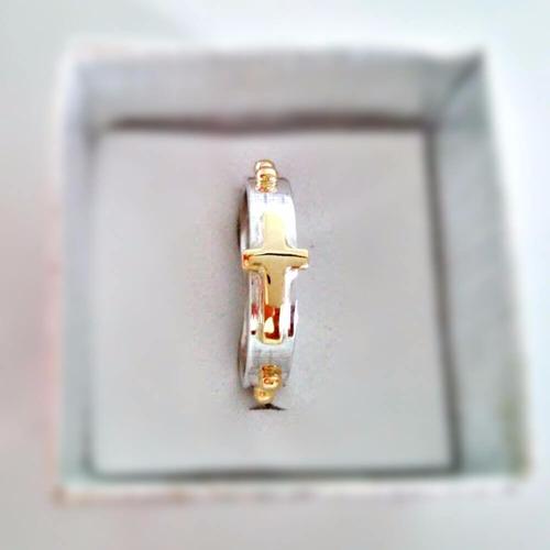 anel de  prata 925 e ouro 18k terço feminino com bolinha