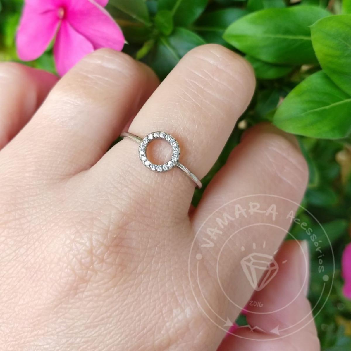 a217209a469 anel de prata 925 geométrico círculo de zircônias aro 17. Carregando zoom.
