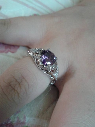 anel de prata 925 pedra ametista natural aro 14