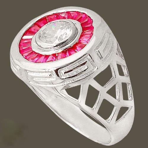 anel de prata 925 rodinada com rubis e topázio branco