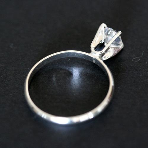 anel de prata 925 solitário com pedra de zirconia