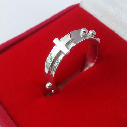 anel de prata 925 terço religioso bolinha pai nosso promoção