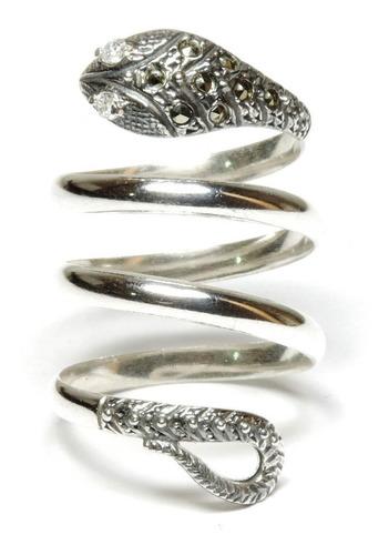 anel de prata 925 zircônia cobra serpente berkat ref 12274