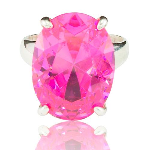 anel de prata 950 com pedra grande safira rosa