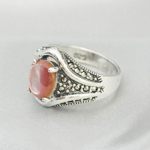 anel de prata com madrepérola rosa e marcassitas