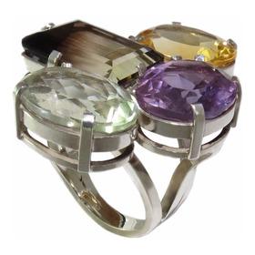 Anel De Prata Com Pedras Preciosas (perfeito) Exclusivo A021