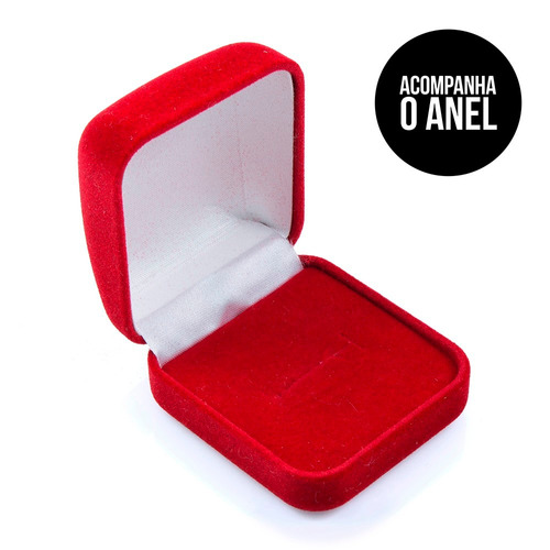 anel de prata gota zircônia vermelha