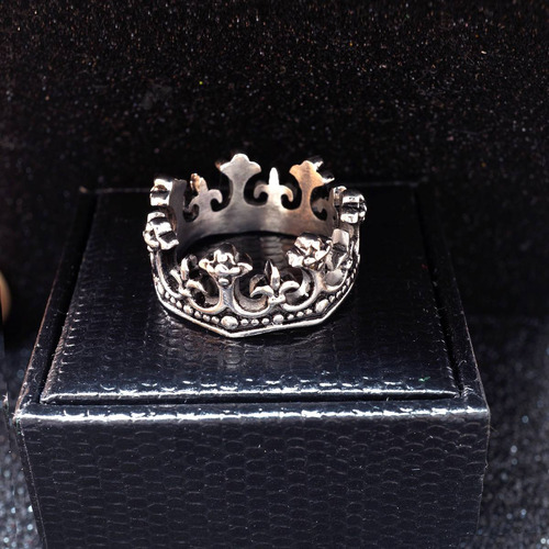 anel de prata maciço masculino coroa rei king mac003