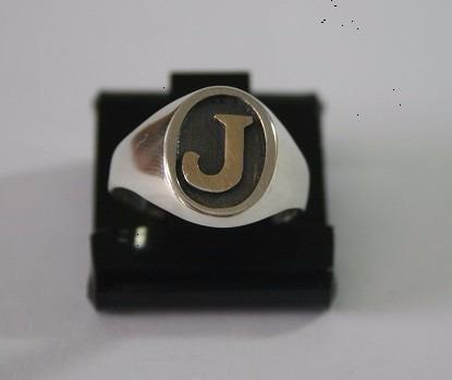 anel de prata masculino c/ letra em ouro - a232, a223