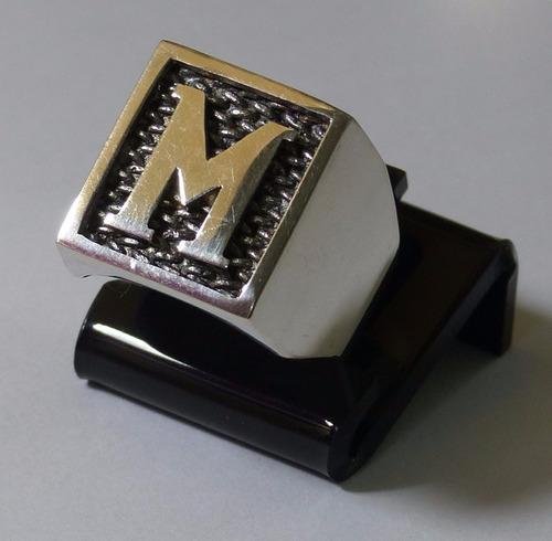 anel de prata masculino c/letra, a269
