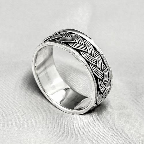anel de prata masculino estilo bali com trabalhado trançado