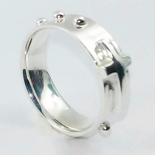 anel de prata masculino religioso terço bolinha 9 mm