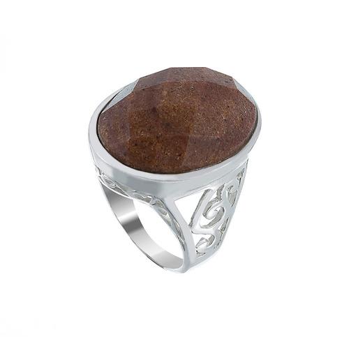 anel de prata oval quartzo marrom