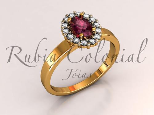 anel de rubi natural e diamantes de qualidade.