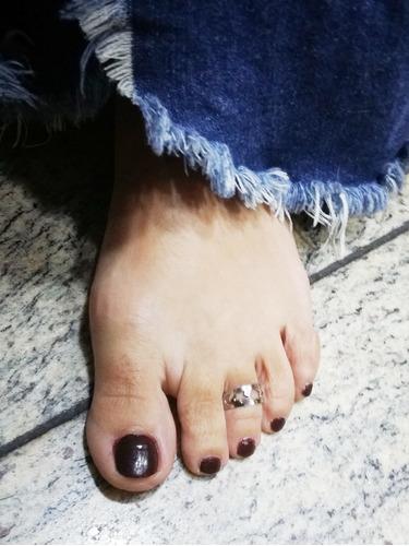 anel dedo do pé em aço inoxidável anti alérgico estrela cora