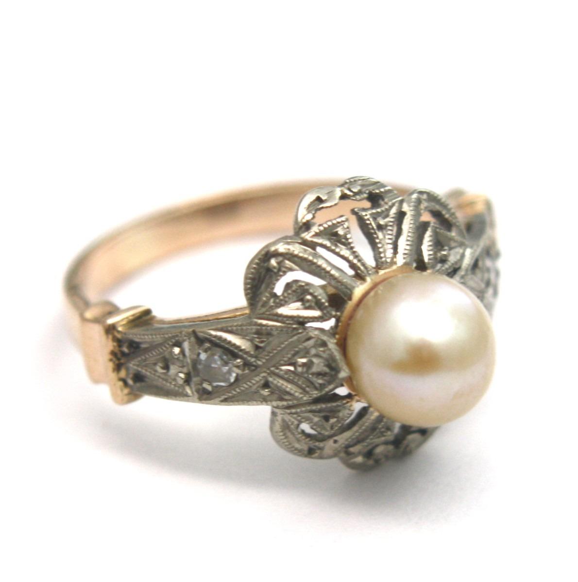 6c5ac0f5531 anel design antigo com pérola e brilhantes ouro 18k - d189. Carregando zoom.