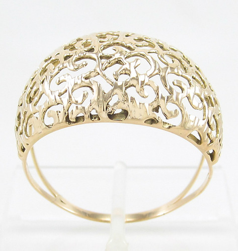 anel design vazado rendado aro28 em ouro amarelo 18k 750.
