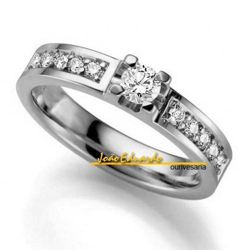 anel diamante central 35 pontos