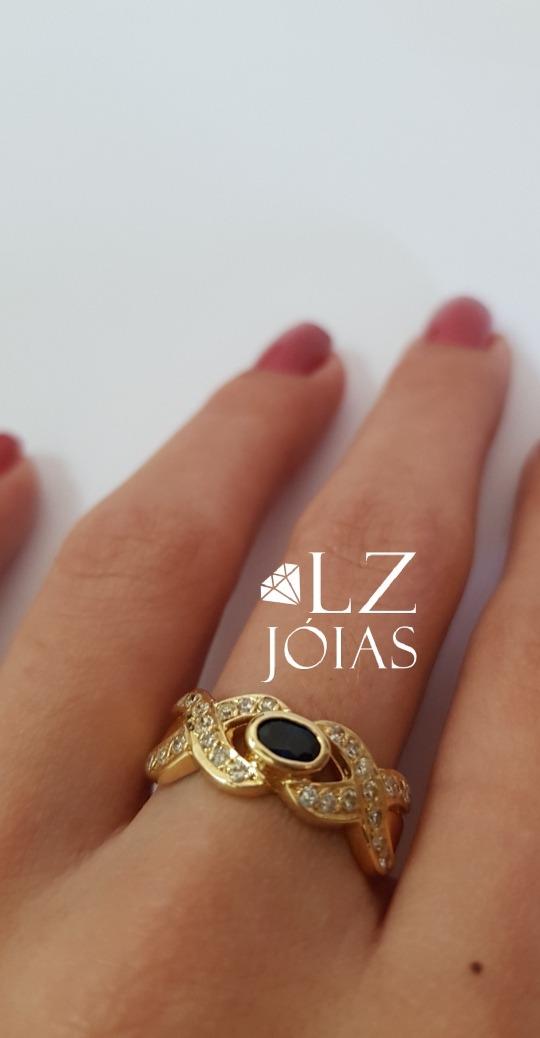 9c44aee9834 anel diamante safira brilhante cravejado feminino ouro 18k. Carregando zoom.