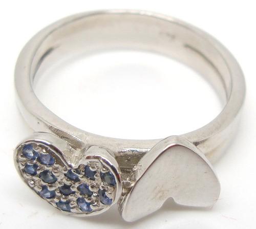 anel dois corações safiras naturais prata 925