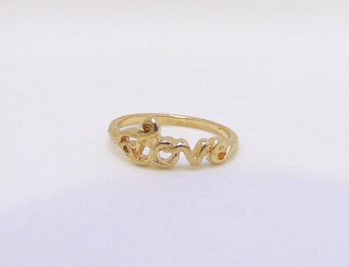anel dourado love