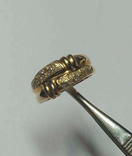 anel duplo em ouro amarelo e brilhantes