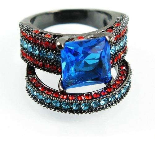 anel duplo feminino cristal água marinha dia aniversário 437