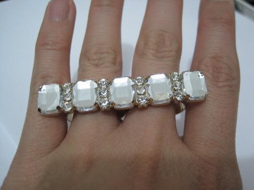 anel duplo regulável - barras de cristais strass swarovski