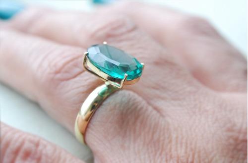 anel e brinco ouro 18k com peridoto mod. 0000d