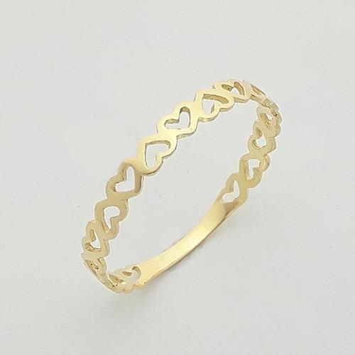 anel em coração  vazado aparador ouro 18k