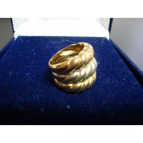 Anel Em Ouro 18 K, 3 Tons ,maciço, Aro17 ,larg.18mm,13,8 Grs