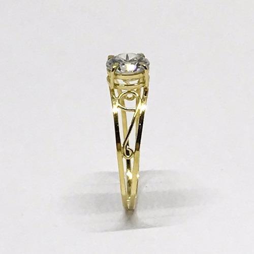 anel em ouro 18k com pedra zircônia 6mm noivado