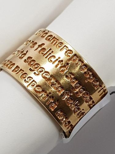 anel em ouro 18k grosso felicidade amor em italiano.
