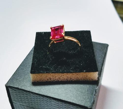 anel em ouro 18kts e quartzo rosa